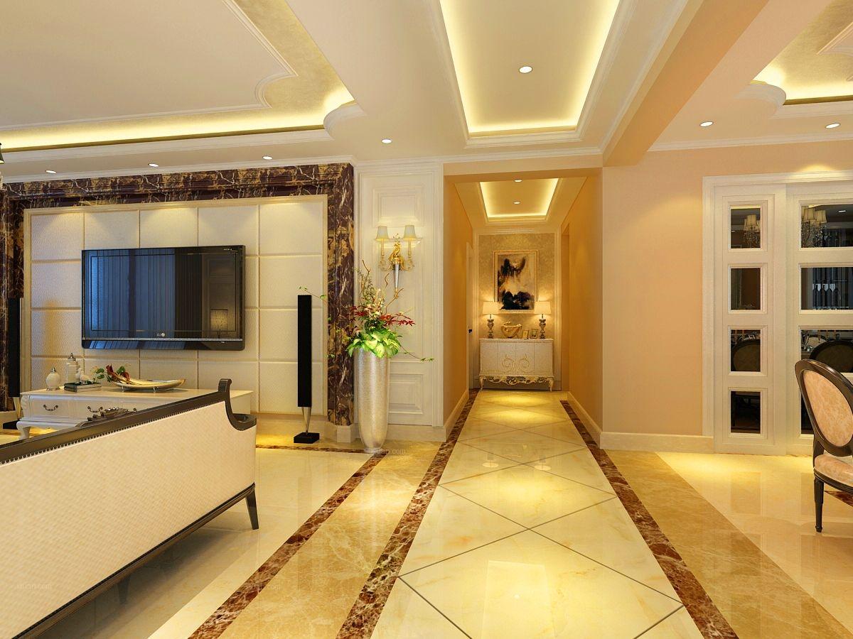 四居室欧式风格过道电视背景墙图片