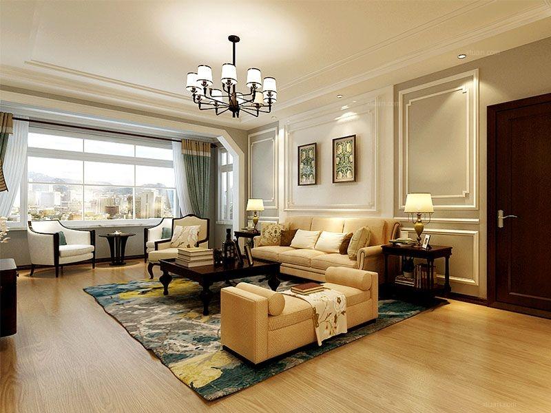 三居室美式风格客厅沙发背景墙图片
