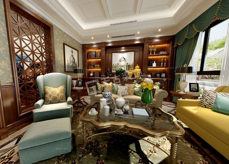 别墅美式风格客厅_璧山秀湖鹭岛图丨天古设计师叶刚图