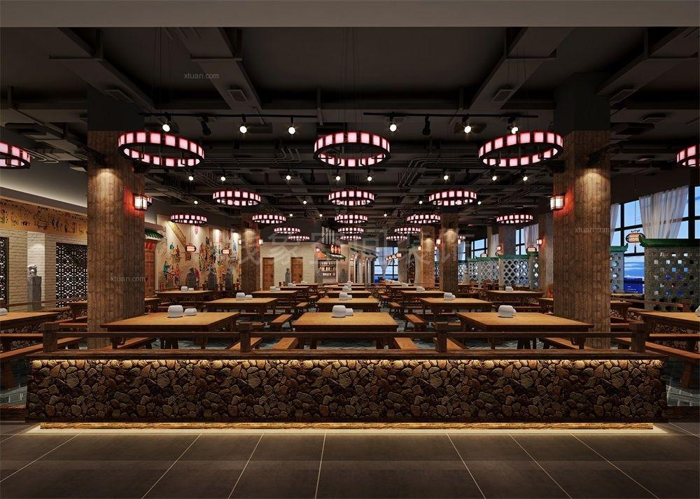 满堂红湘式中国风loft墙纸设计装修效果图三星v墙纸餐厅app图片