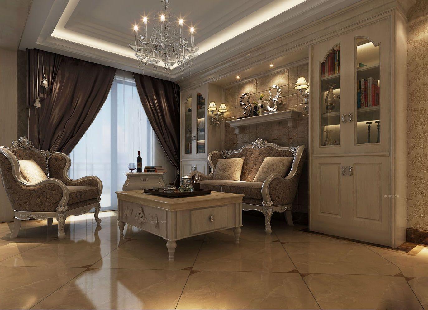 别墅欧式风格休闲区沙发背景墙图片图片