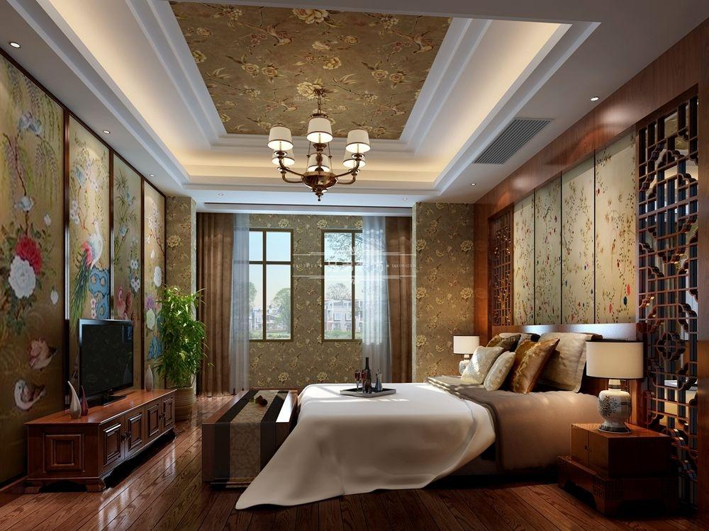 别墅中式风格卧室卧室背景墙图片