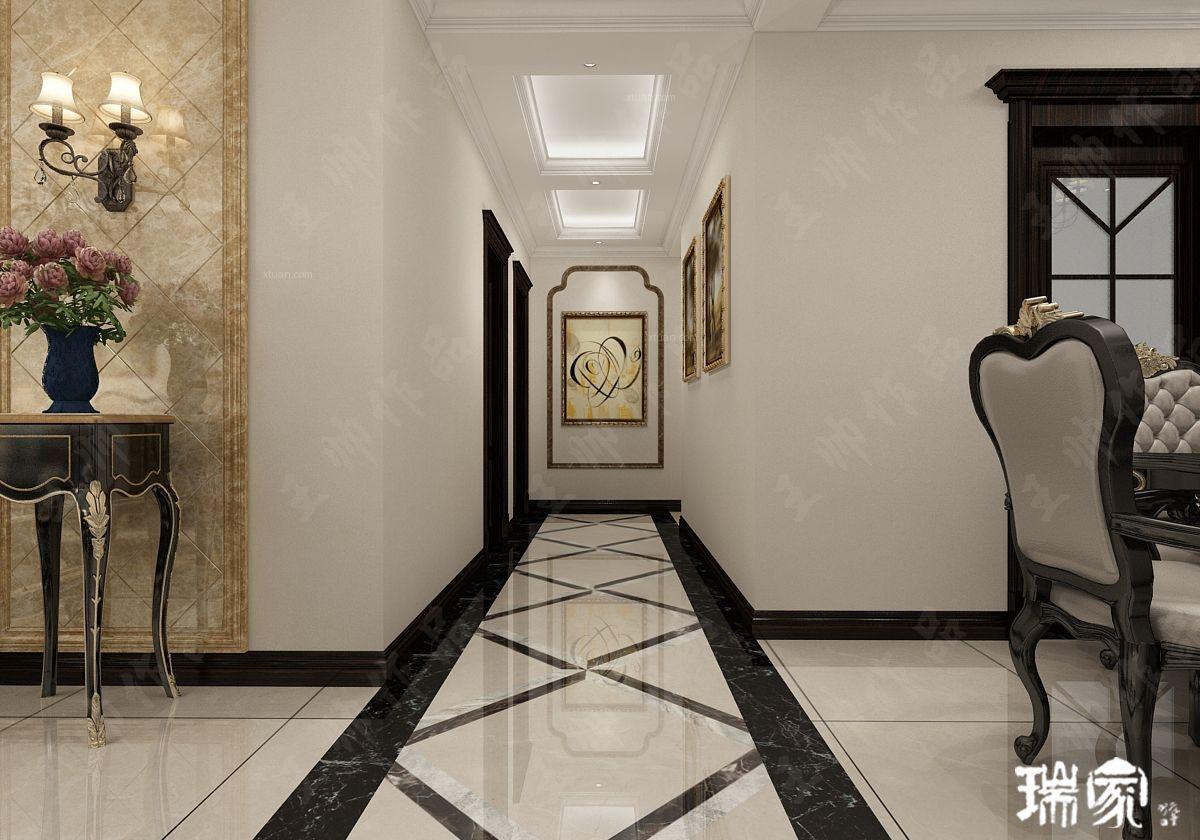 三居室美式风格过道墙绘图片