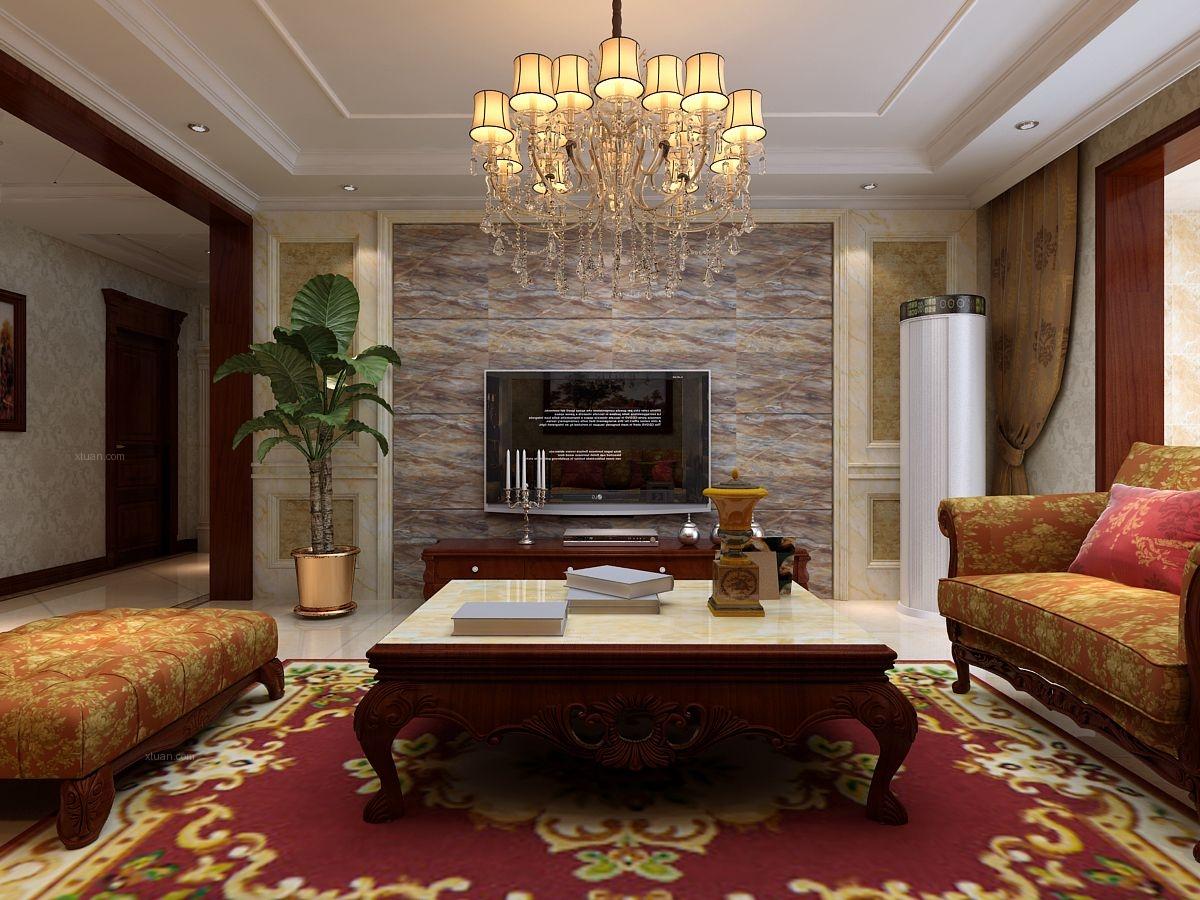 【观澜新城装修】134平米三室两厅美式风格装修效果图