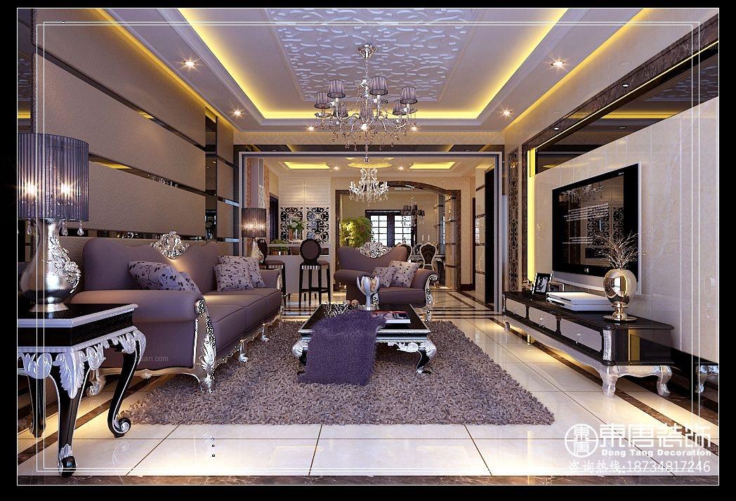 大户型欧式风格客厅沙发背景墙
