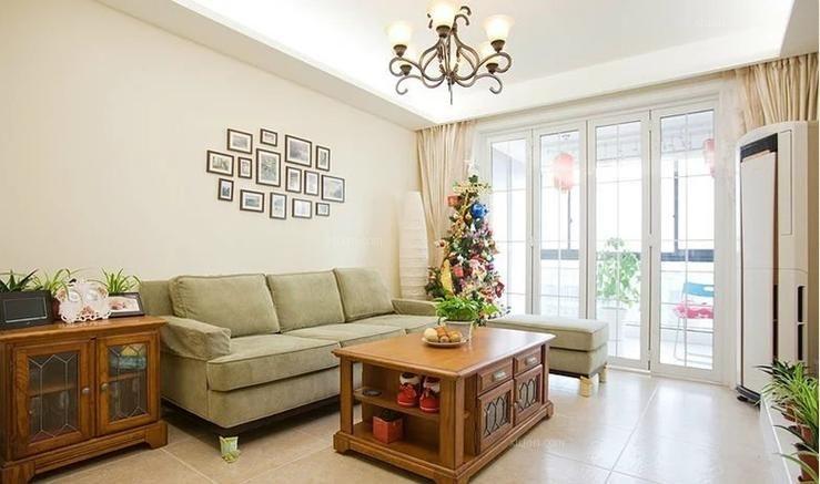 两居室混搭风格客厅电视背景墙