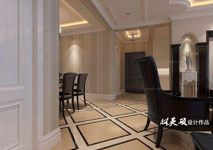 华润橡树湾160平户型美式风格装修设计方案
