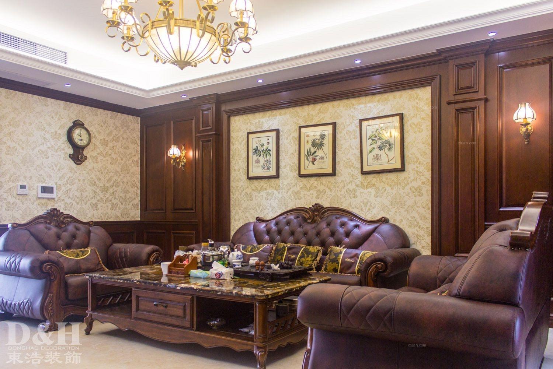 三居室美式风格客厅沙发背景墙