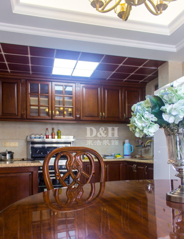 三居室美式风格餐厅开放式厨房