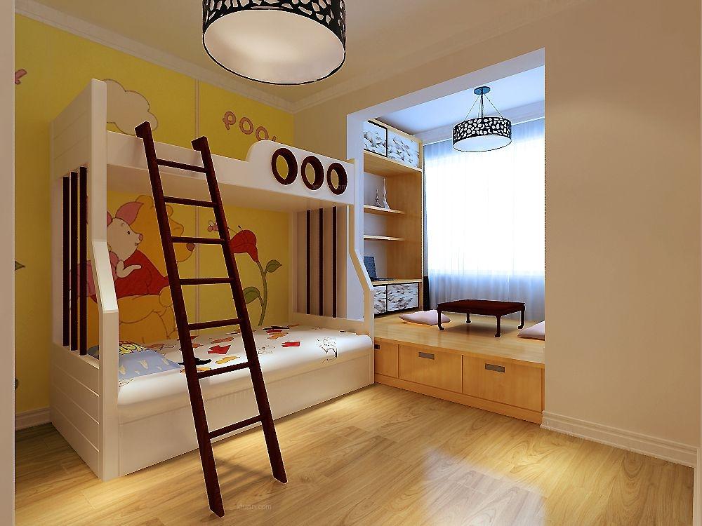 三室两厅现代风格小卧室_外滩叁号100㎡-现代简约装修