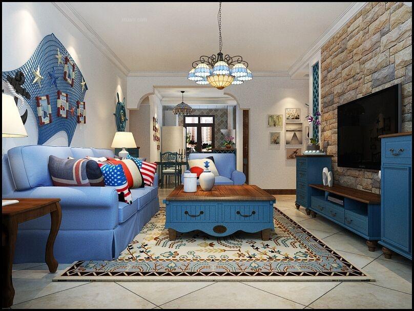 两居室英式风格客厅电视背景墙图片