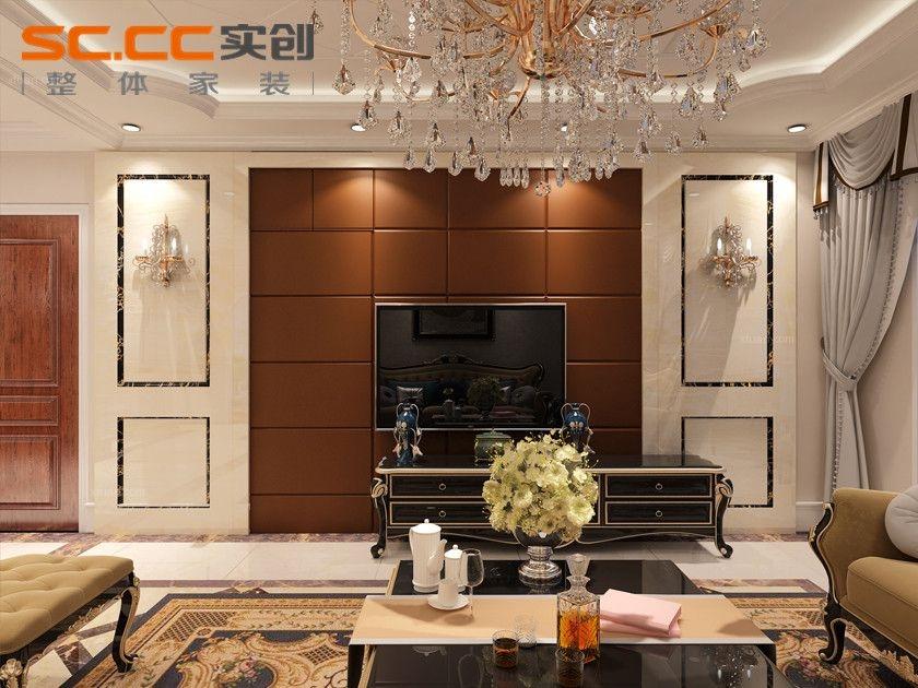 三室一厅简欧风格客厅电视背景墙