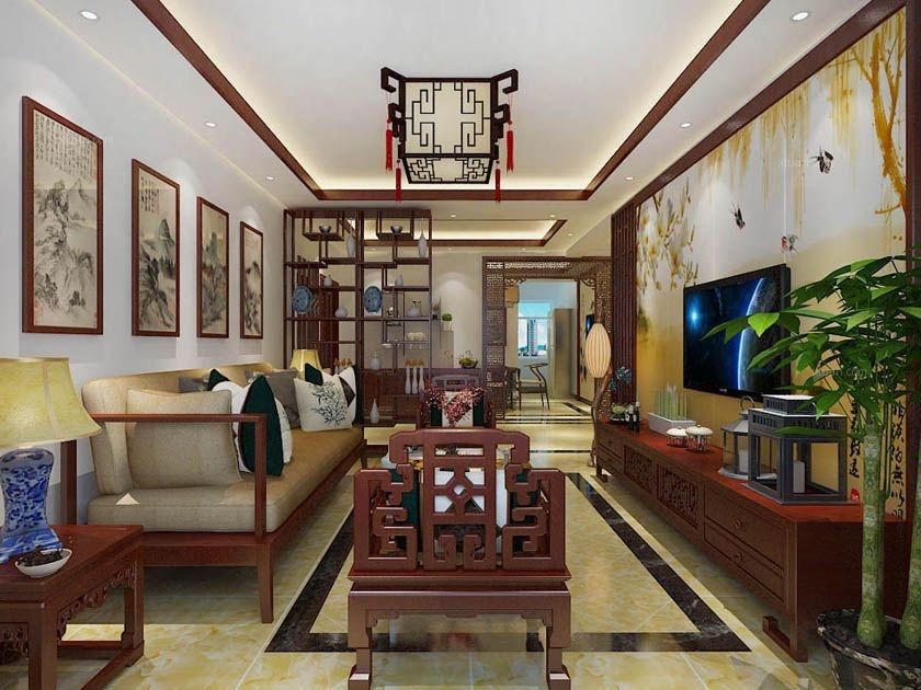 两室一厅中式风格客厅电视背景墙