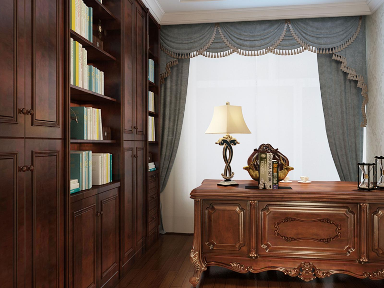 三居室欧式风格书房卧室背景墙_鸣雀 鲁商装修效果图