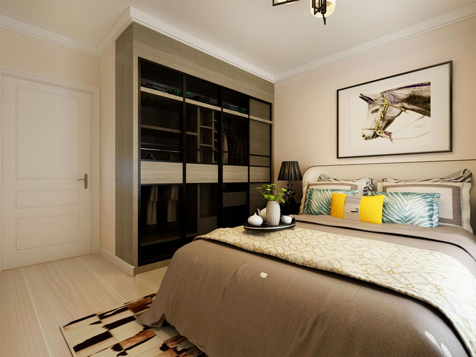 两居室当代当世万端骈卧室卧室背景墙_华润凯旋门装修效实图
