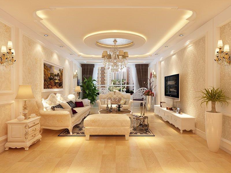 三居室简欧风格客厅电视背景墙_金色江湾装修效果图