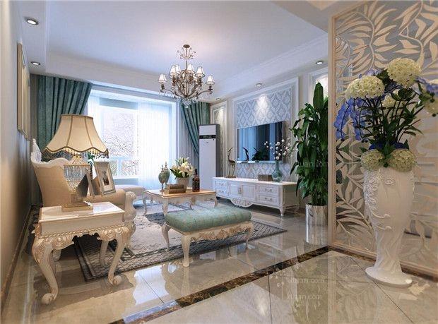 两居室简欧风格客厅电视背景墙