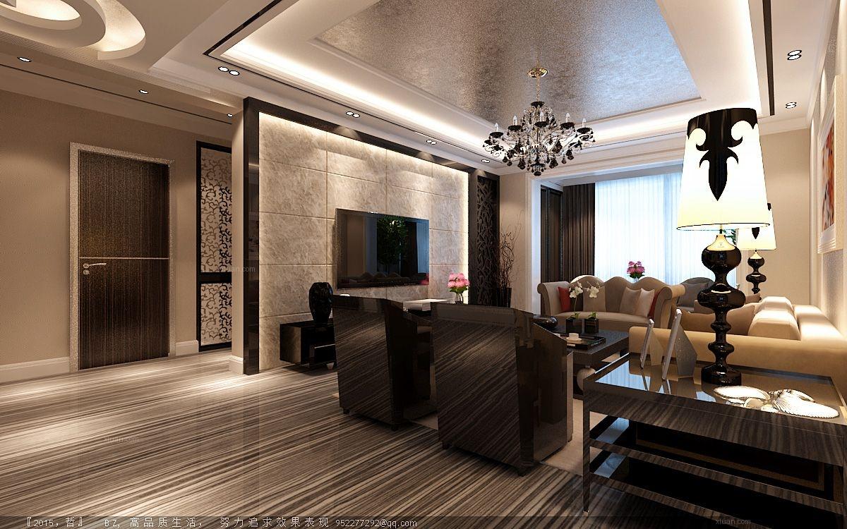 三居室现代简约客厅_鸣雀装饰-玫瑰湾珑岸-港式风格
