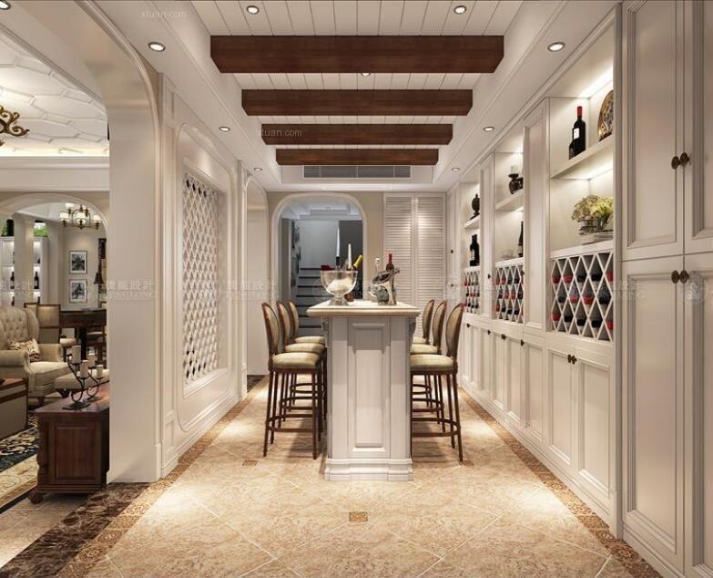 别墅美式风格餐厅_崇明岛昱墅别墅美式风格设计装修