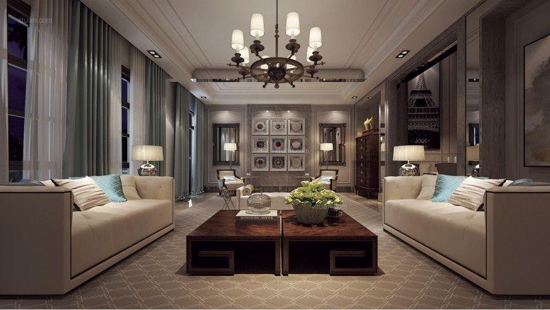 大户型现代风格客厅沙发背景墙