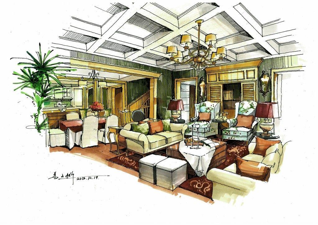 别墅欧式风格客厅沙发背景墙_盖云鹏创意总监手绘作品