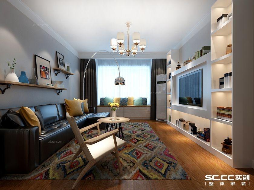 两居室北欧风格客厅电视背景墙