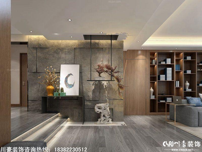 成都川豪装饰设计海亮樾金沙现代中式风格装修效果图