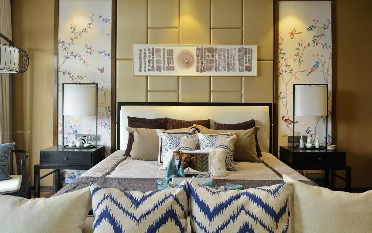 别墅中式风格卧室卧室背景墙