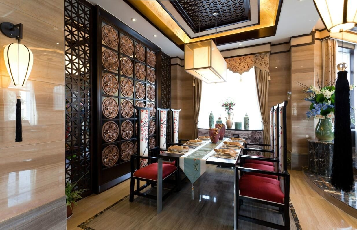金地中央世家五居室460平米中式风格