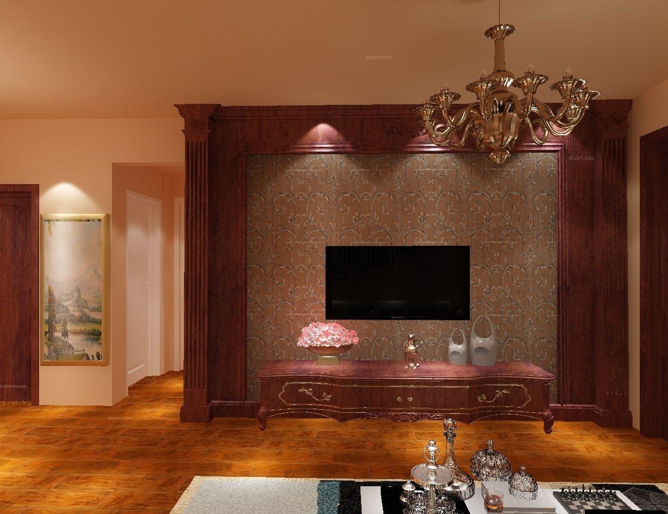 别墅古典风格客厅电视背景墙