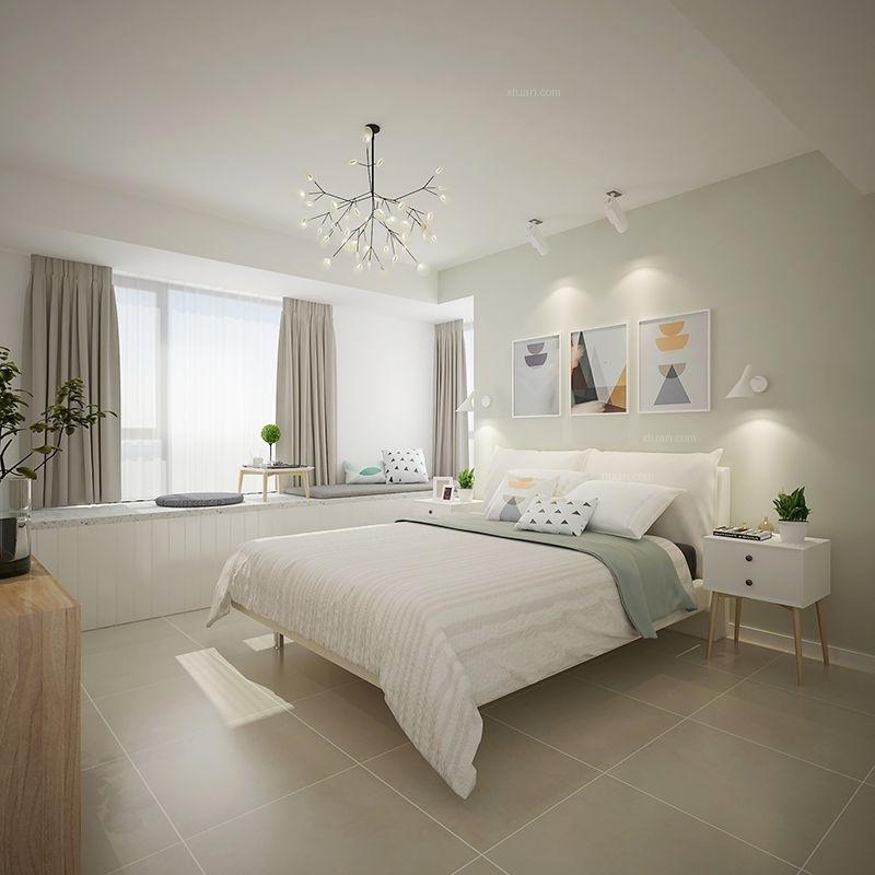 三居室现代简约卧室_龙湖源著北欧风格案例装修效果图图片
