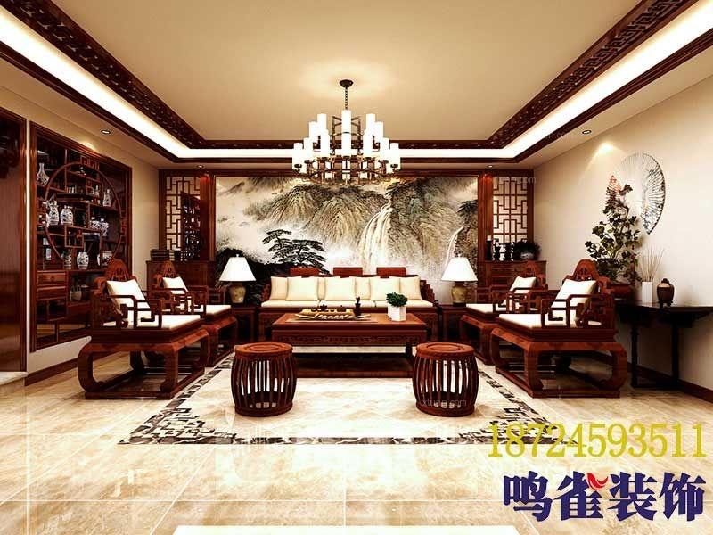 大户型中式风格客厅沙发背景墙