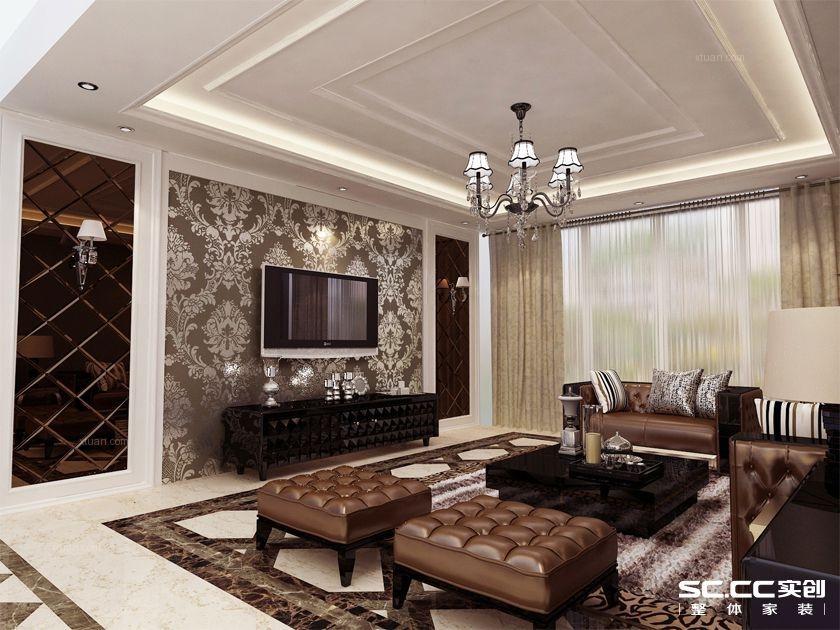 三居室欧式风格客厅软装