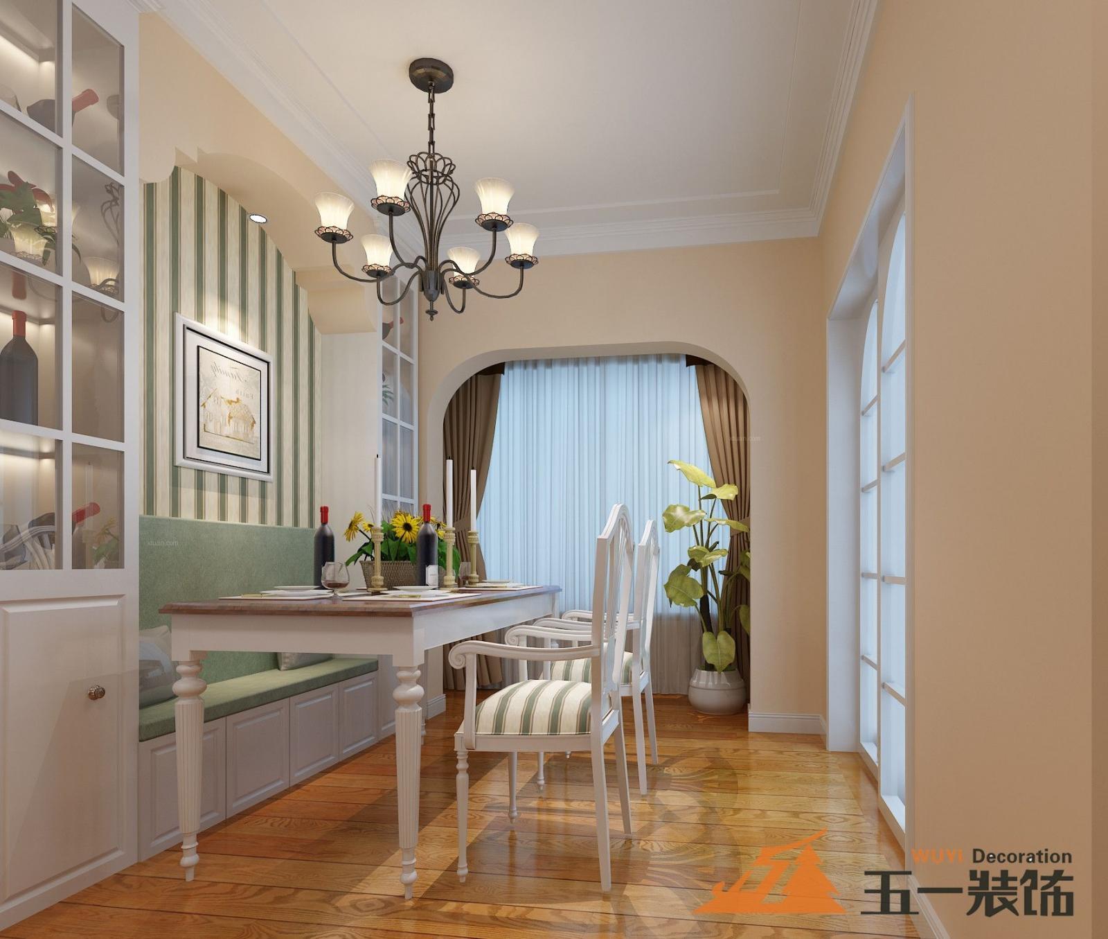 两居室美式风格客厅_华地公馆 轻美式装修效果图