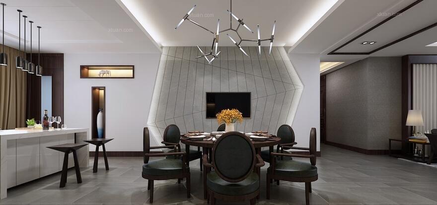 大户型现代风格餐厅开放式厨房