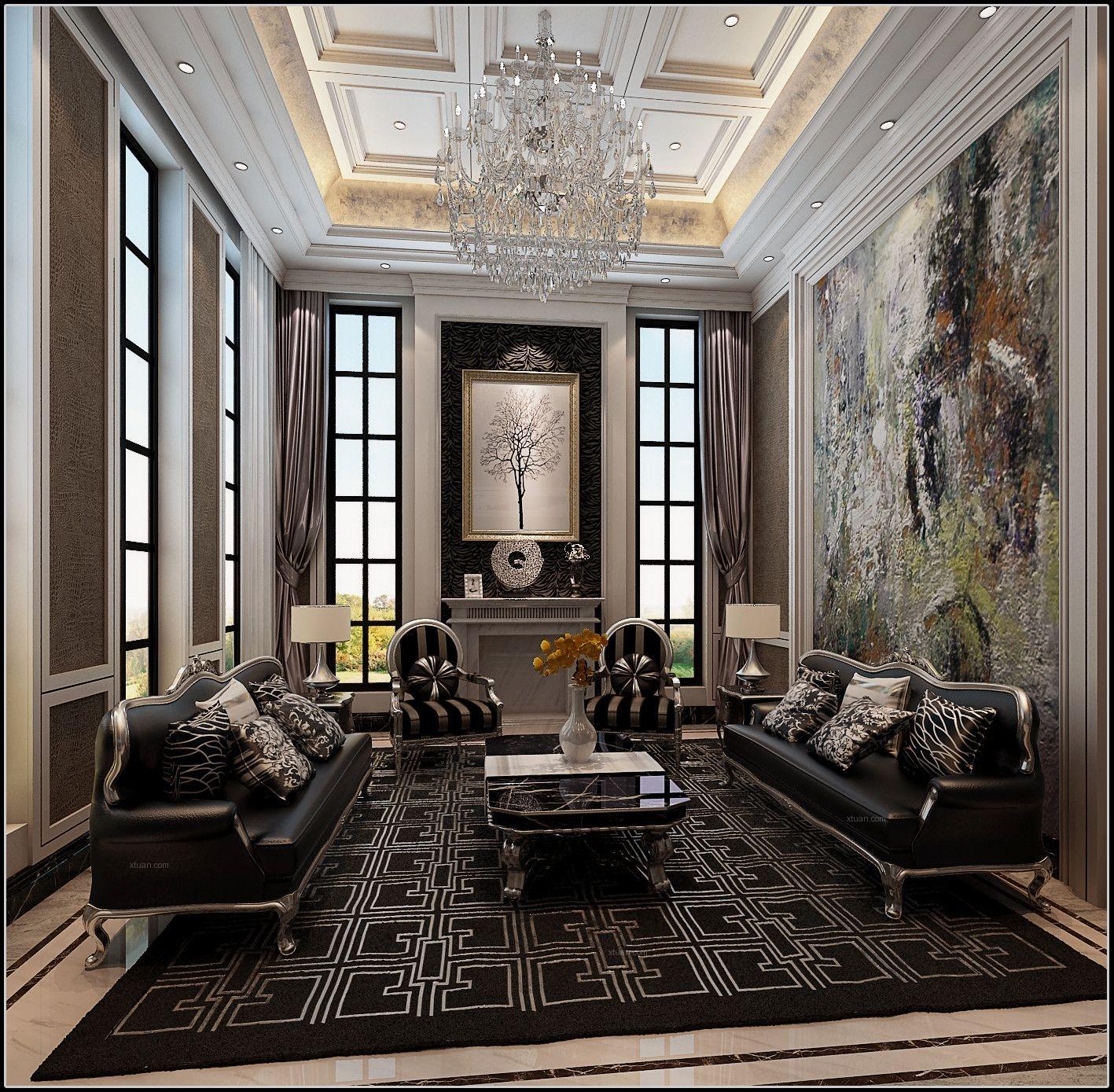 别墅时尚风格客厅墙绘