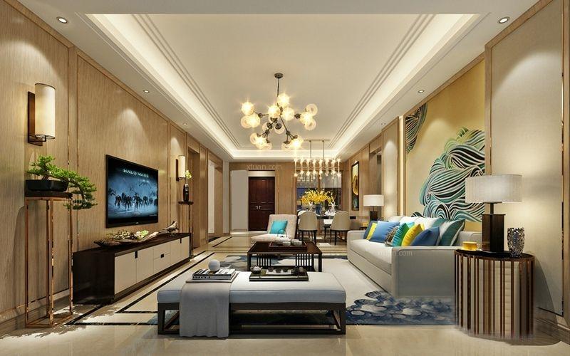 三居室混搭风格客厅