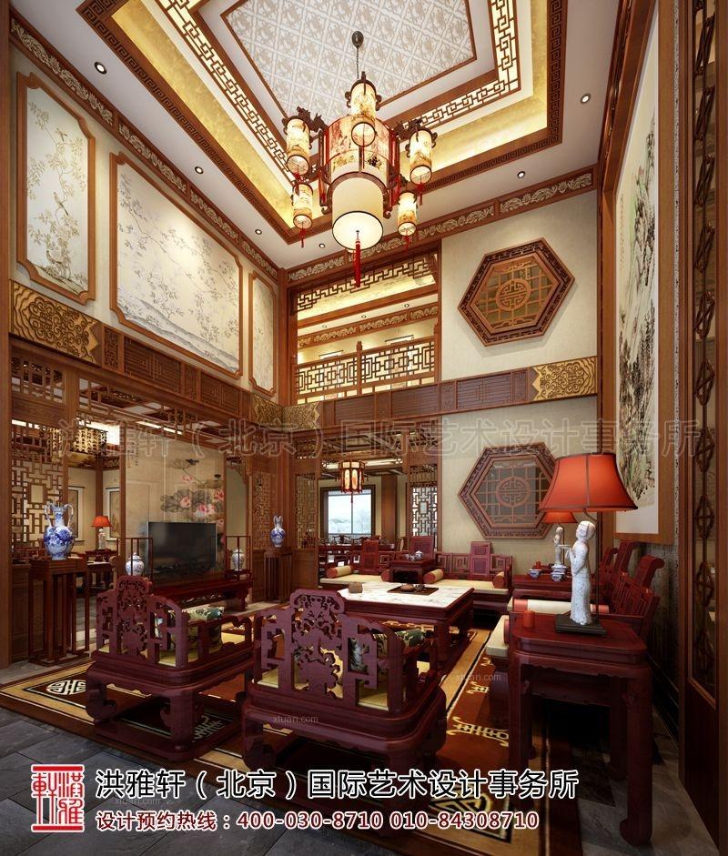 别墅中式风格客厅_滁州古典中式别墅设计