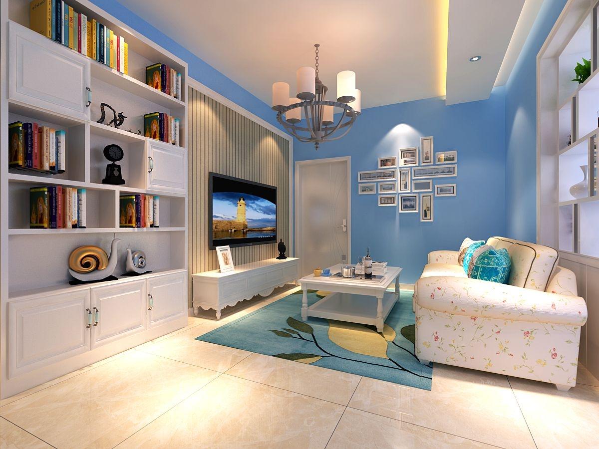 两居室混搭风格客厅电视背景墙_华宁春天-75㎡-混搭