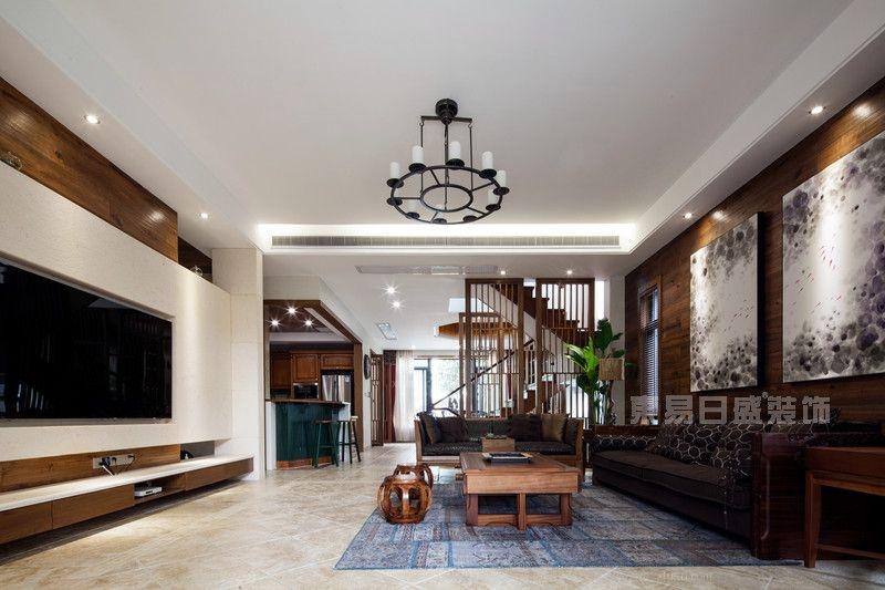 独栋别墅中式风格客厅沙发背景墙