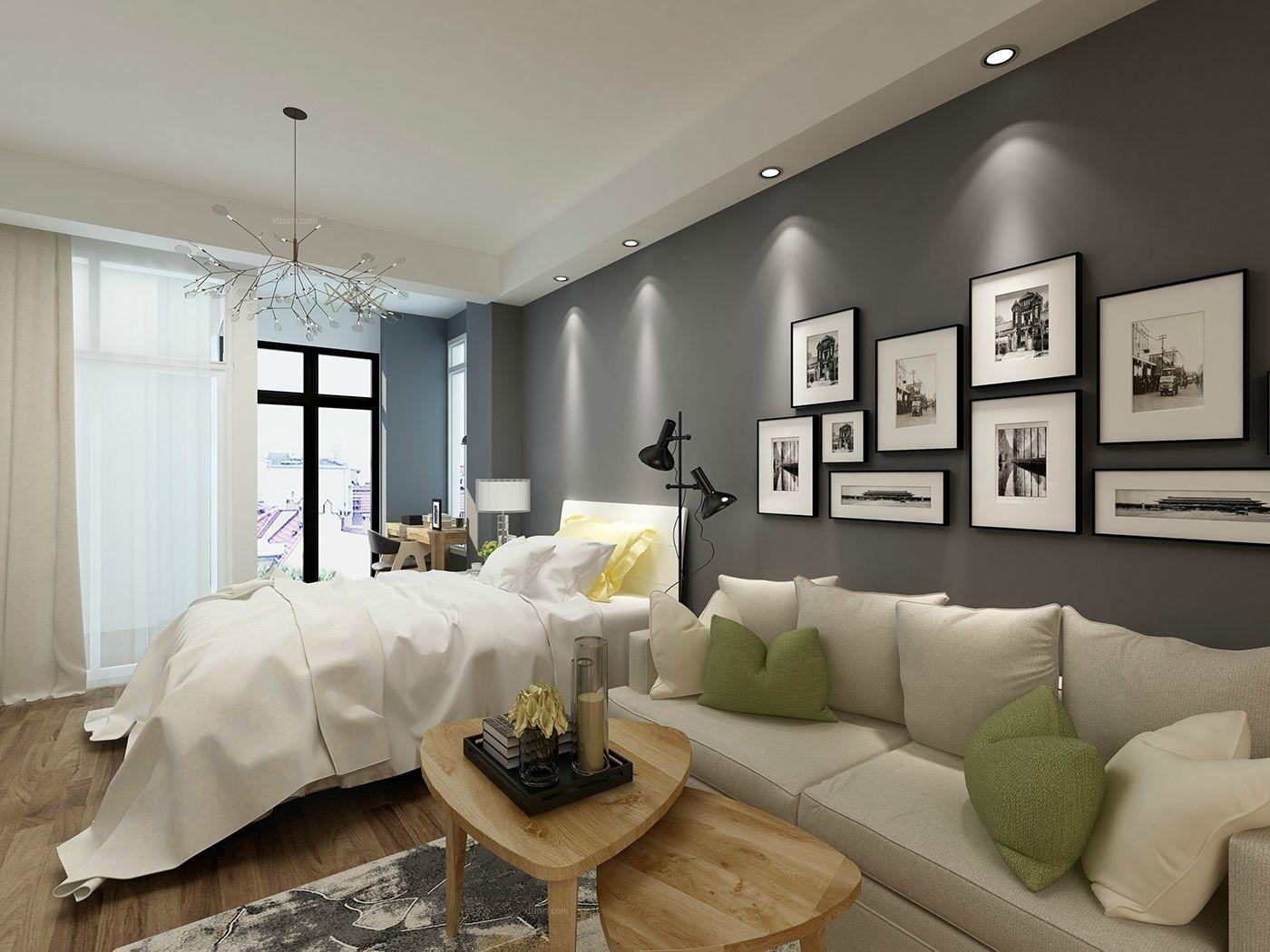 超小户型北欧风格卧室沙发背景墙