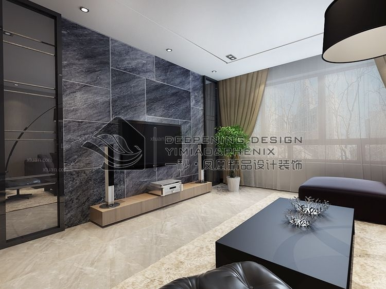 两居室现代简约客厅电视背景墙_宝宇天邑澜湾港式风格图片