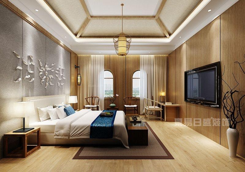 联排别墅中式风格卧室圆形吊顶
