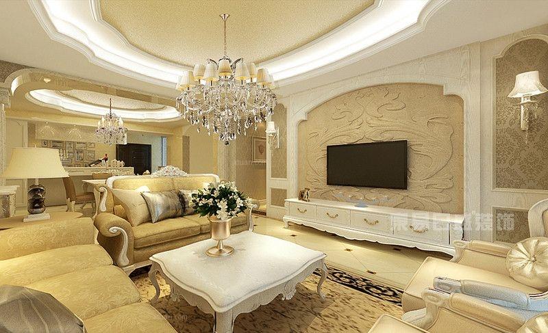 四居室简欧风格客厅墙绘