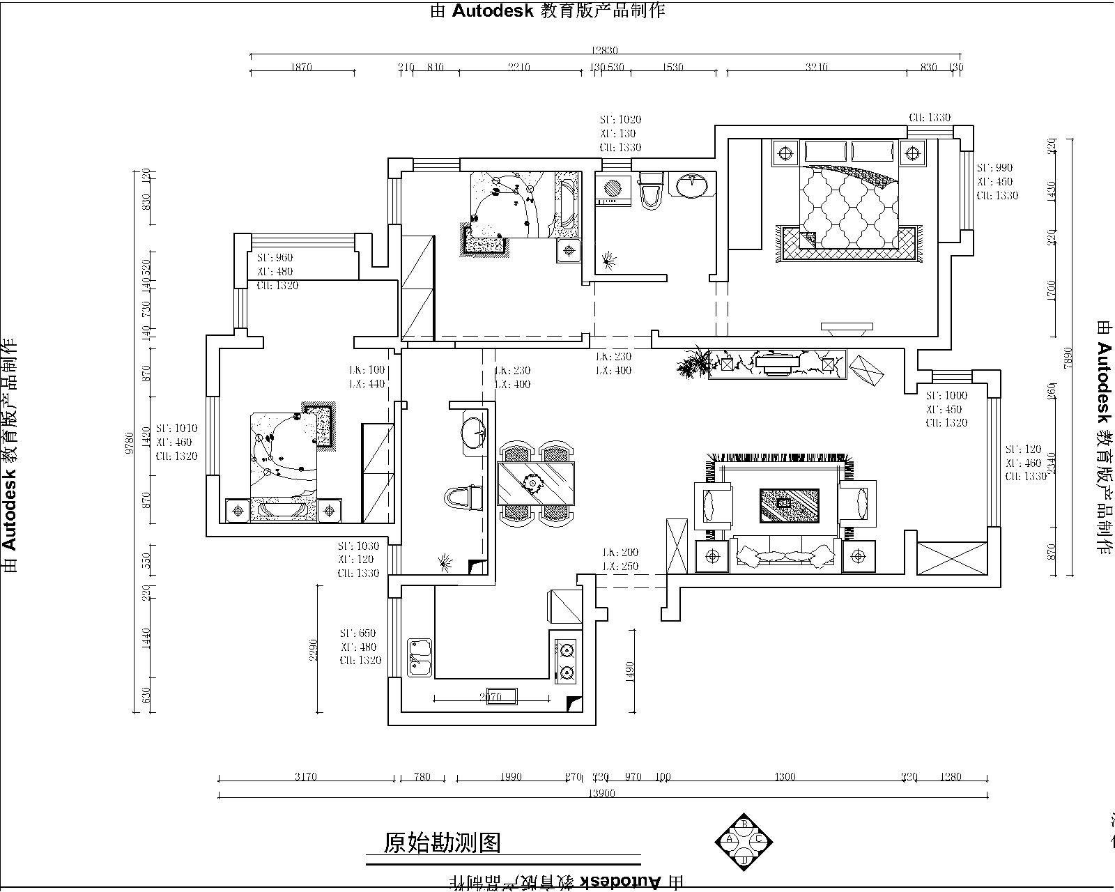 现代城+三室两厅两卫