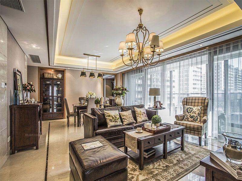 三居室欧式风格客厅沙发背景墙