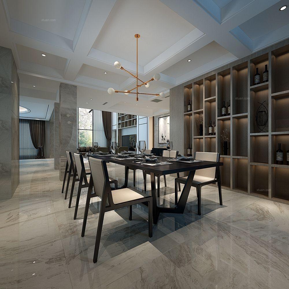 别墅现代简约餐厅开放式厨房