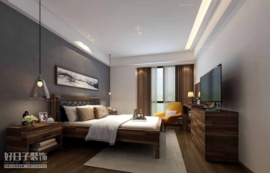 三居室现代风格卧室照片墙