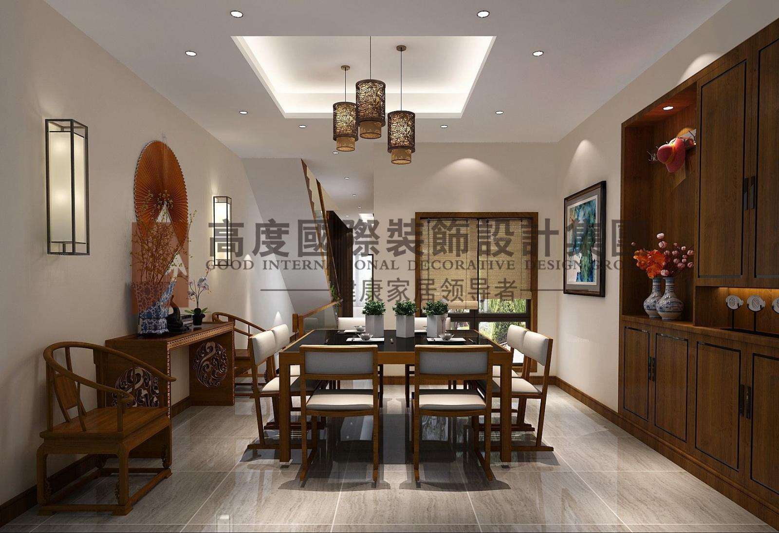 别墅中式风格餐厅开放式厨房