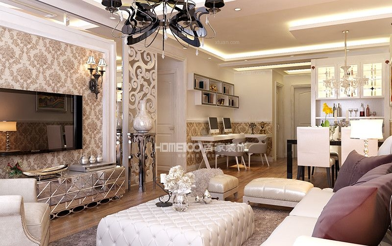 两居室欧式风格客厅电视背景墙